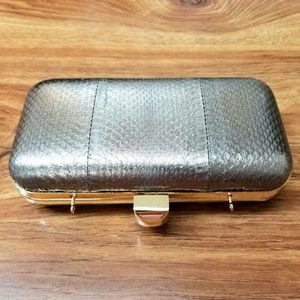 Halston Heritage snake leather clutch